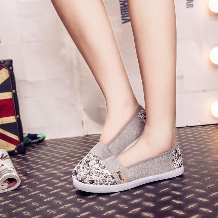 2016 Summer Shallow Bouche femme Chaussures Casual confortable Slip causales Sur Toile Femmes Chaussures Flats femmes,gris et
