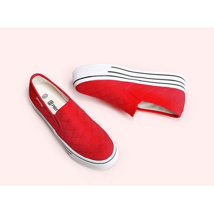 Glissez sur la plateforme Mocassins Chaussures de toile Chaussures de sport IDU3A Taille-36
