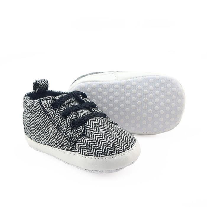 BOTTE Nouveau-né nourrisson bébé filles garçons crèche chaussures à semelle souple anti-dérapant sneakers@NoirHM