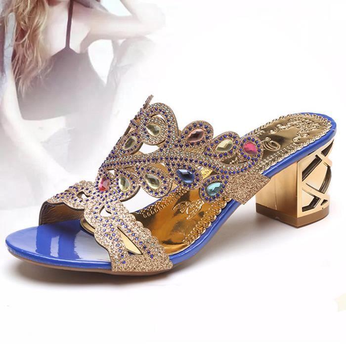 Sandales D'été Pantoufle Foncé Mode Talon Grand bleu Femmes Dames Strass Mousseux Fille TzzCnx