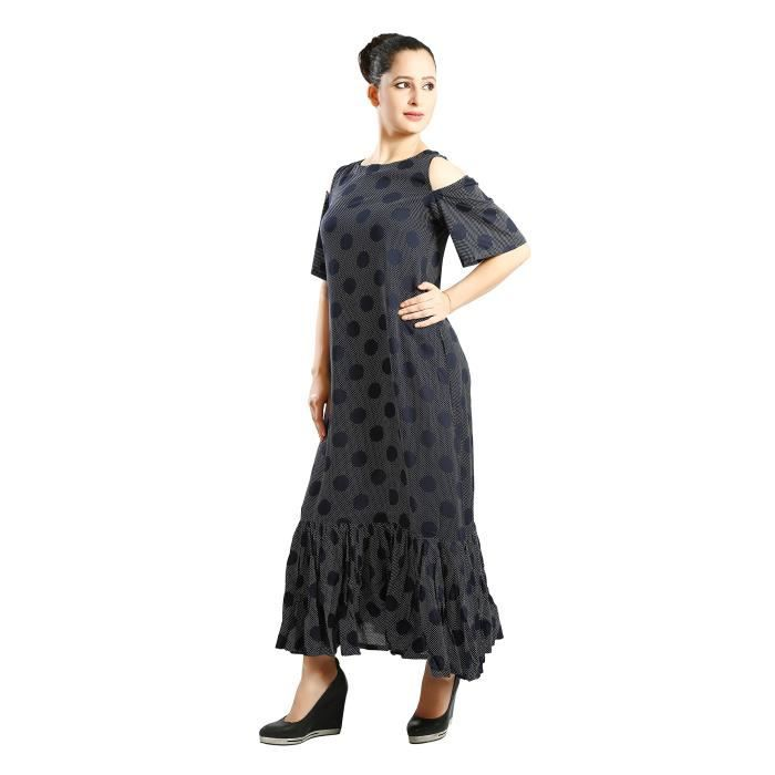 Womens Cold Sleeves Frilled Bottom Long Dress GXWIG Taille-36