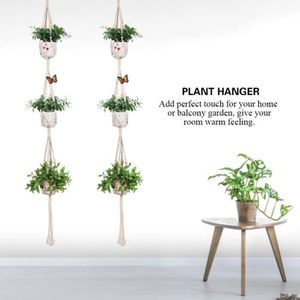 JARDINIÈRE - POT FLEUR  Panier de fleurs suspendu en macramé fabriqué à la