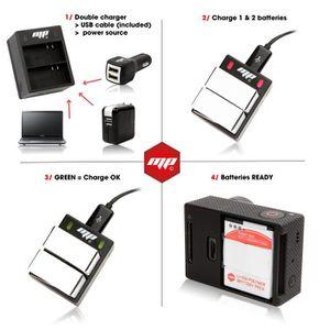 BATTERIE APPAREIL PHOTO 2 x batteries + chargeur double, secteur et allume