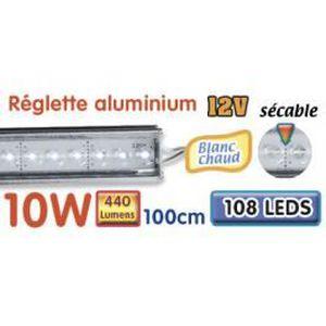 AMPOULE - LED Réglette LED alu 100 cm 10W 12V blanc chaud