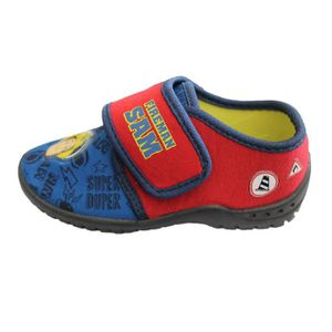 b036f262038e2 CHAUSSON - PANTOUFLE chaussons sam le pompier rouge et bleu à scratch ...