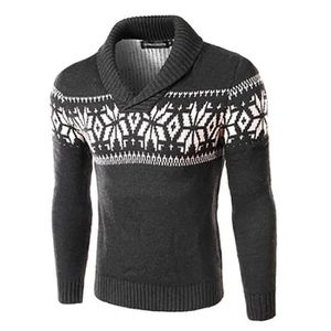 PULL De noël Pull homme Pull à Col Revers Mode mince sw