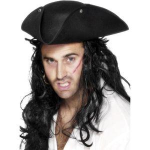 CHAPEAU - PERRUQUE Chapeau pirate tricorne noir Taille Unique