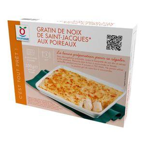 POISSON CUISINÉ Gratin de noix de Saint Jacques aux poireaux surge
