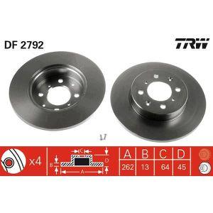 DISQUES DE FREIN TRW Lot de 2 Disques de frein DF2792