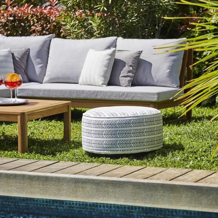 Pouf gonflable jardin Bocarnea - Assise 53 cm - Revêtement spun polyester 200 mg - Motif ethnique no
