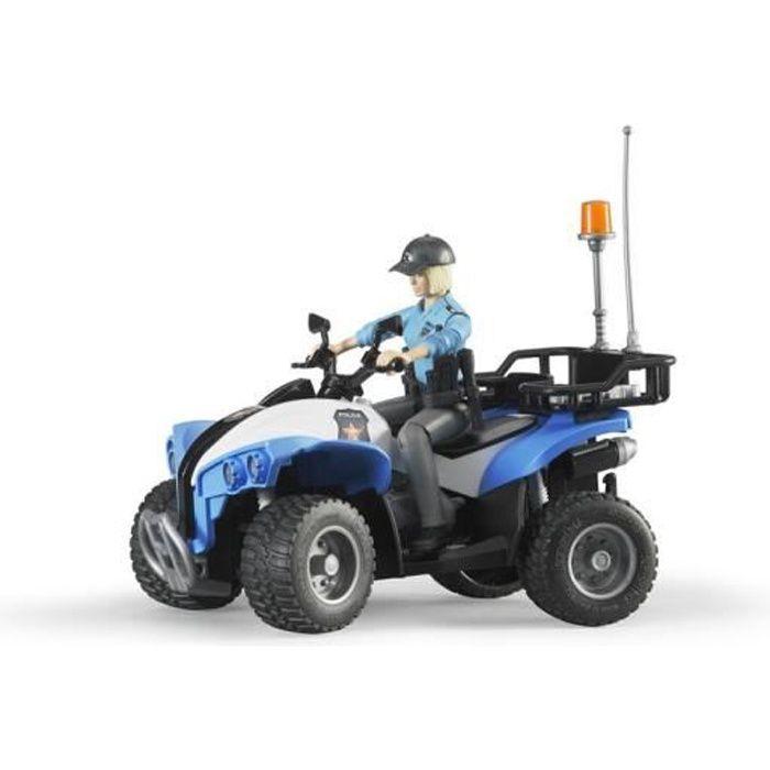 BRUDER - Quad police avec policiere et accessoires - 16 cm