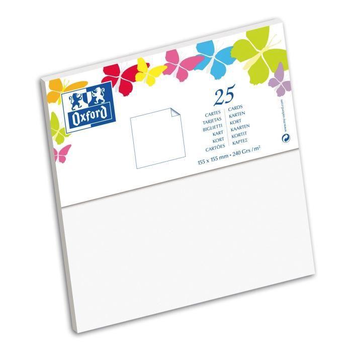 OXFORD 25 Cartes 15,5 cm x 15,5 cm x 0,7 cm - 240g - Blanc