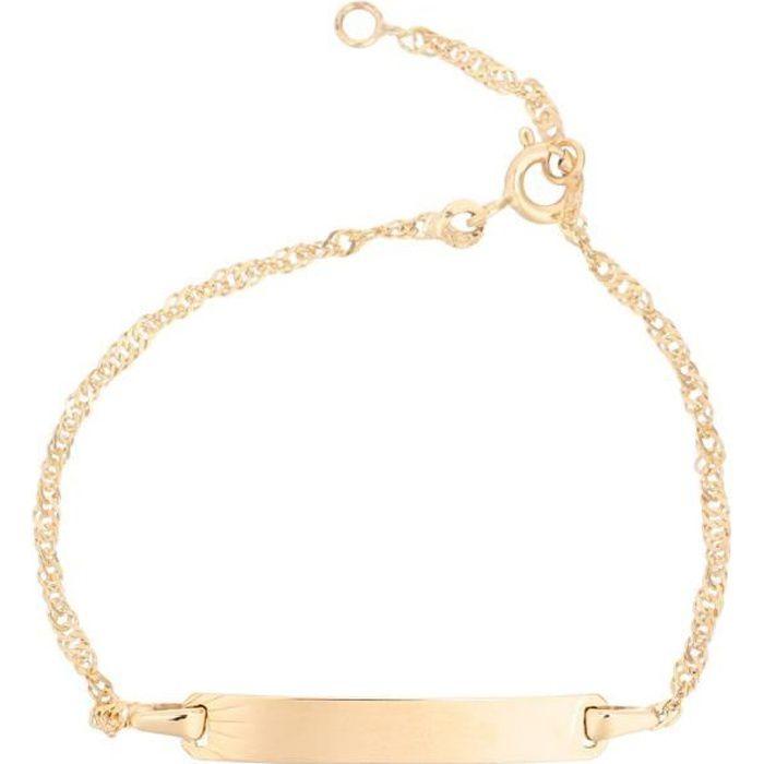 YSORA Bracelet Identité Or Jaune 375° Maille Singapour Bébé mixte
