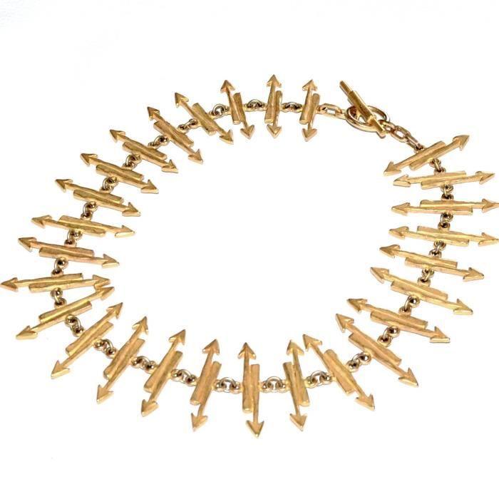 BICHE DE BERE gros collier couleur or original maille flèche 47cm bijou