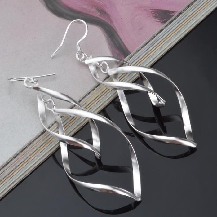 boucles d oreilles femme torsadees argent achat vente pas cher cdiscount. Black Bedroom Furniture Sets. Home Design Ideas