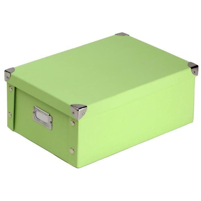 boite en carton vert d 39 eau uni avec couvercle achat vente boite de rangement cdiscount. Black Bedroom Furniture Sets. Home Design Ideas