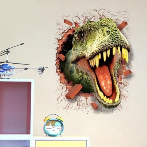 Sticker mural 3d trompe l il t rex ou dinosaure sticker effet 3d enfant cadeau d co chambre - Trompe l oeil chambre ...