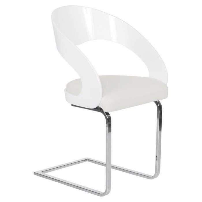 Chaise Moderne Lolo Pour Salle A Manger En Similicuir Blanc Casse
