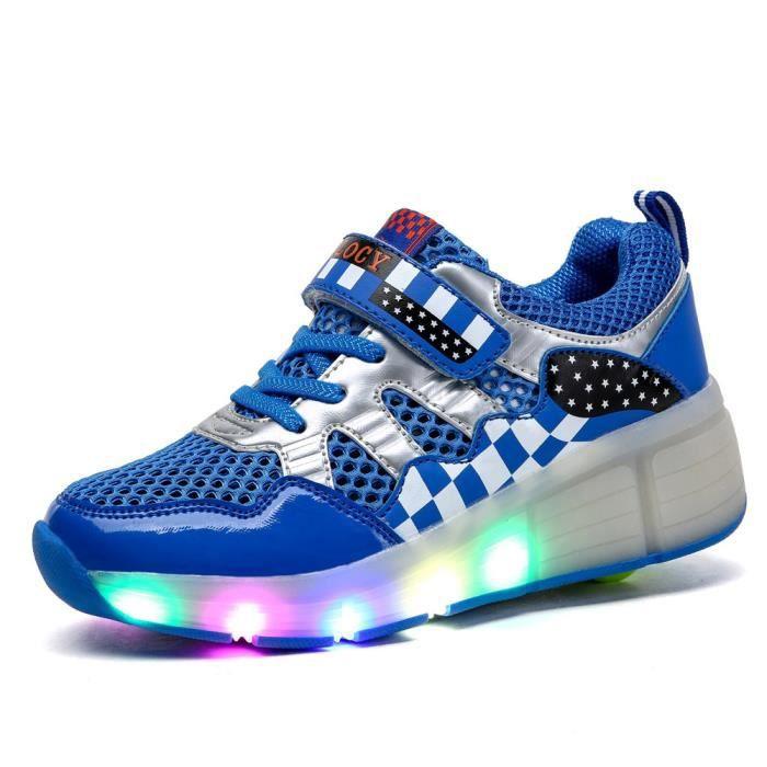 Husk'Sware® Heelys enfants chaussures à roulettes fille automatique LED lumineux clignotant patins à roulettes enfants mode Sneakers