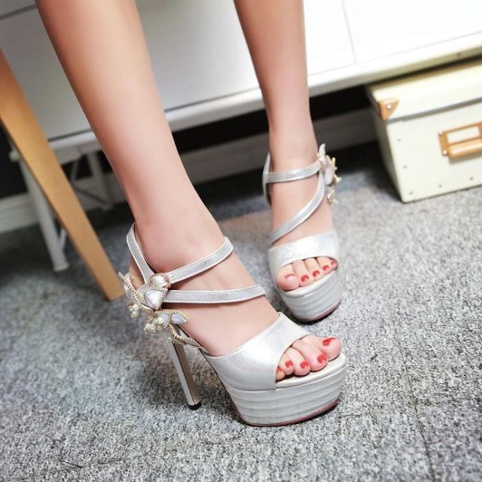 Sandales noir plateforme à talons fleurs minces 45pXtkG