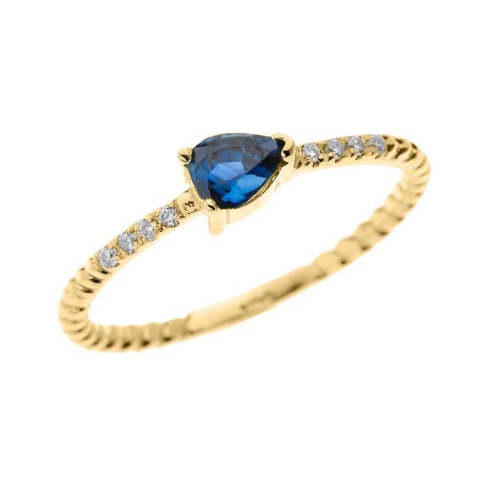 Bague Femme 10 Ct Or Jaune Solitaire Forme De Poire Saphir Et Diamant Conception De Corde