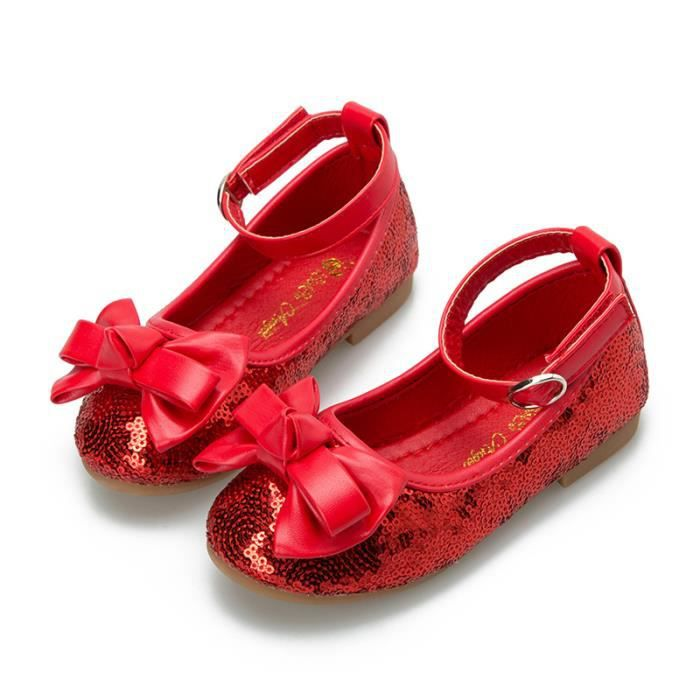 Nouveaux produits enfants chaussures filles princesse chaussures Velcro enfants printemps chaussures de danse rouge paillettes arc c