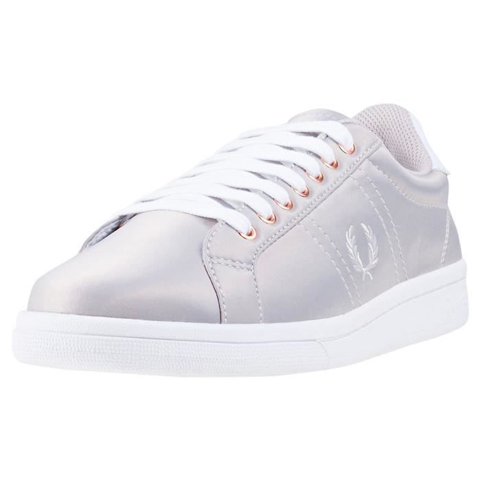 Fred Perry B721 Satin Femmes Baskets argent - 6 UK