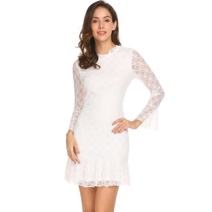 Robe Femmes O-cou Flare manches Floral Lace Cocktail Party Fishtail