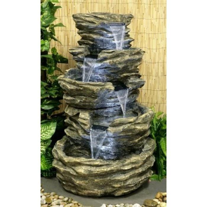 Fontaine cascade pierre 4 niveaux avec lumi res for Jardin 2 niveaux
