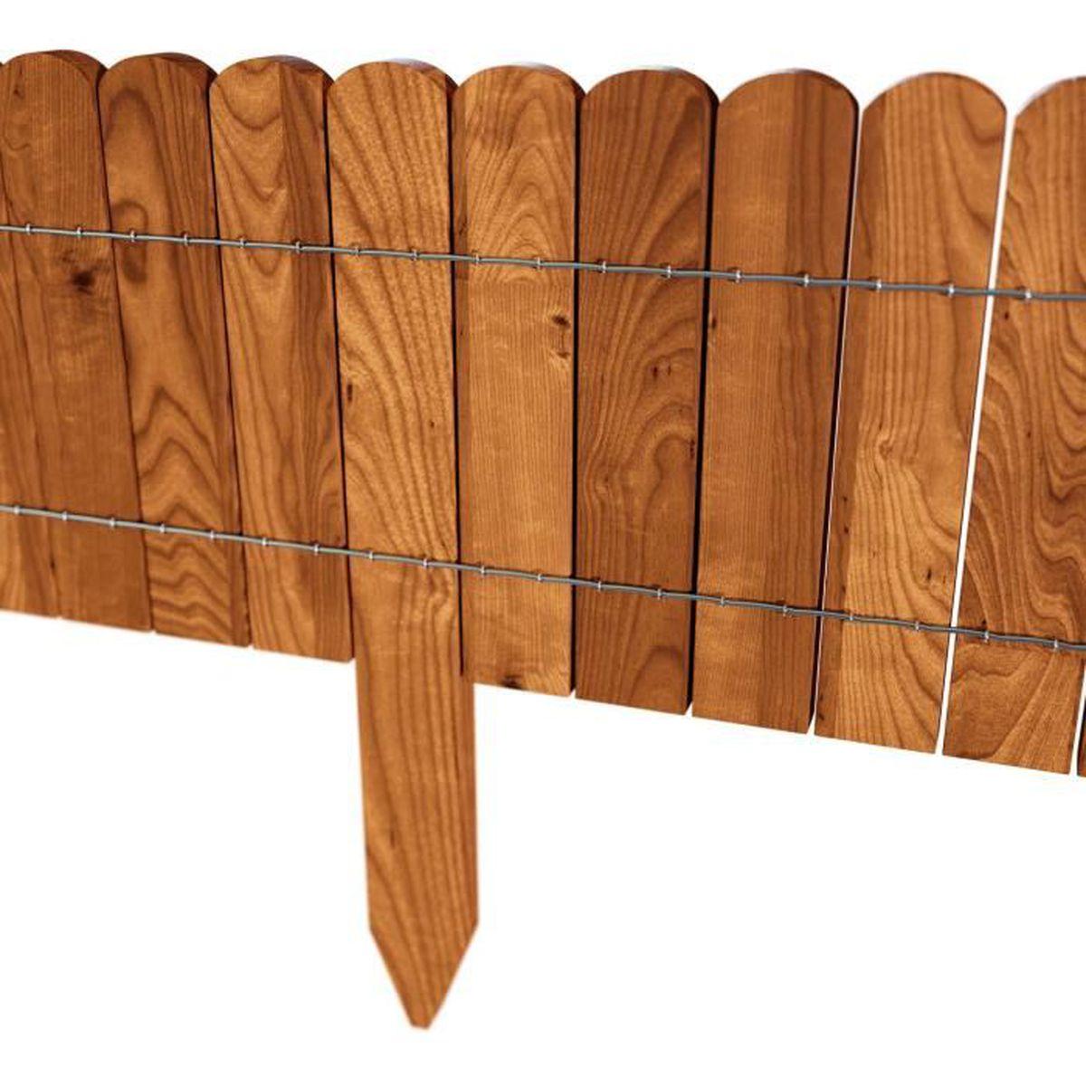 Bordure déroulable de 200 cm de longueur hauteur 20 cm en bois comme délimitation de plates bandes couleurbrune achat vente bordure bordure