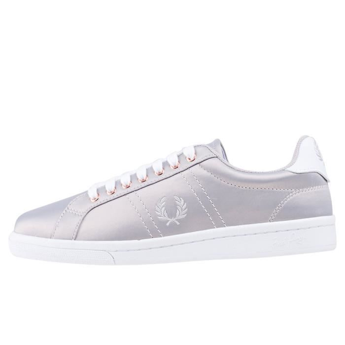 Fred Perry B721 Satin Femmes Baskets argent - 6 UK 6Dg57OiO
