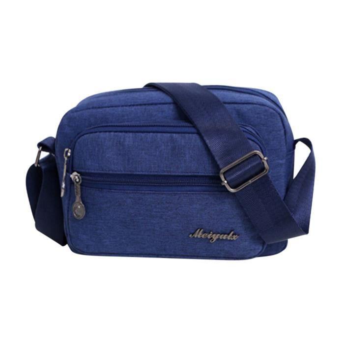 Femme Main Unie Épaule free399 Bleu À Zipper nbsp;couleur Bandoulière Bleu Mode Toile sac Poi 6FUwtt
