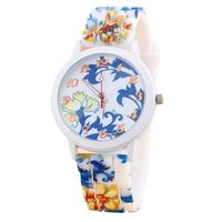 MONTRE Femmes silicone Flower Printed Sport Jelly analogi