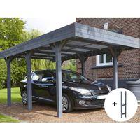 CARPORT Carport bois lazuré gris Louison - 15,75 m² + Kit