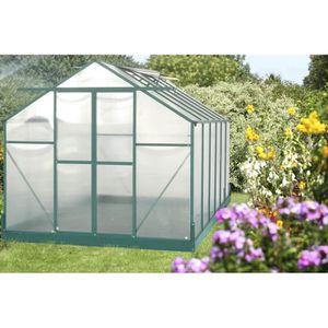 SERRE DE JARDINAGE Serre de jardin structure en aluminium verte 10,50