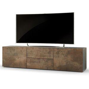MEUBLE TV Meuble tv bas 139 cm coloris acier antique