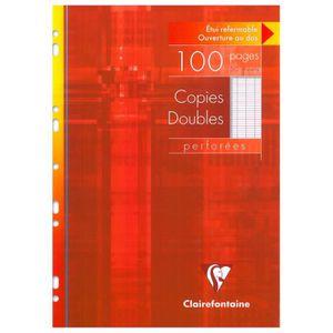 FEUILLET MOBILE Etui de 100 pages Copies doubles perforées 21x29,7