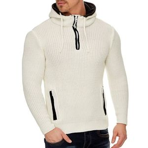 PULL Pull capuche homme tendance Pull 492 blanc