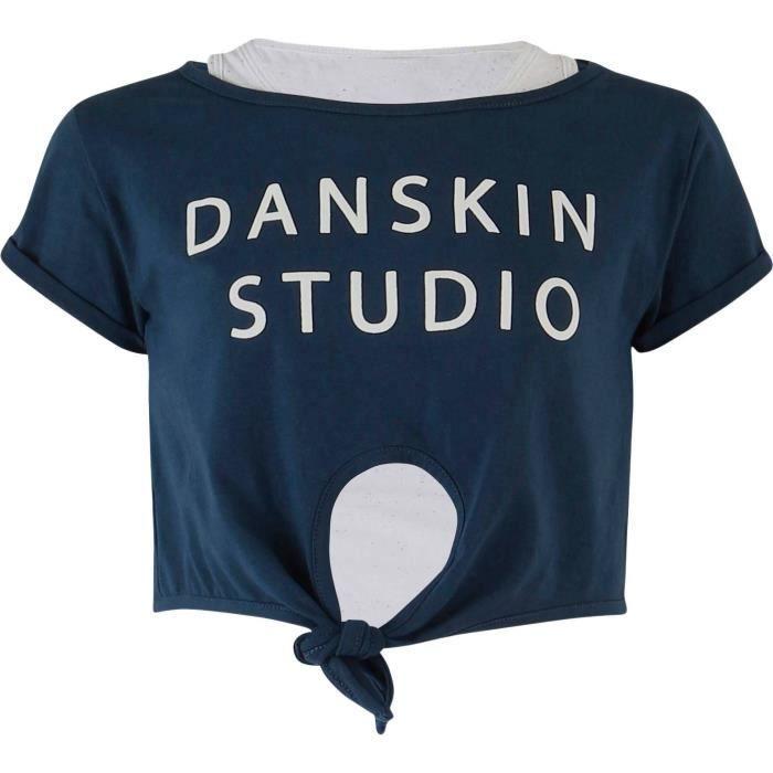 DANSKIN T-shirt double Elize - Enfant fille - Gris clair et bleu