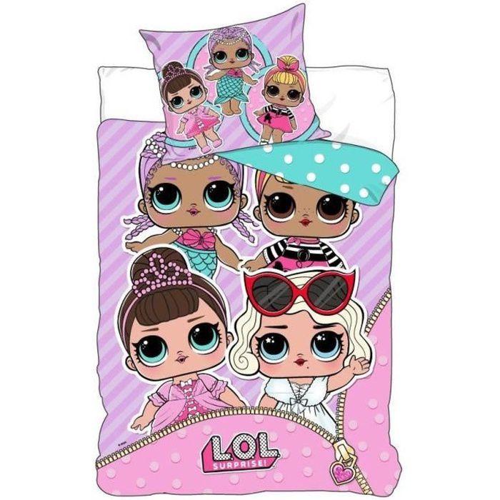 LOL Parure de lit enfant 100% Polyester - 1 housse de couette 140x200cm + 1 taie d'oreiller 63x63cm