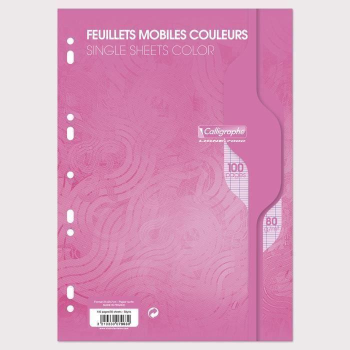 CALLIGRAPHE Feuilles simples couleur Rose perforées - 210x297 mm - 100 pages - Seyes papier Vélin Surfin 80 g avec encart (Lot de 3)