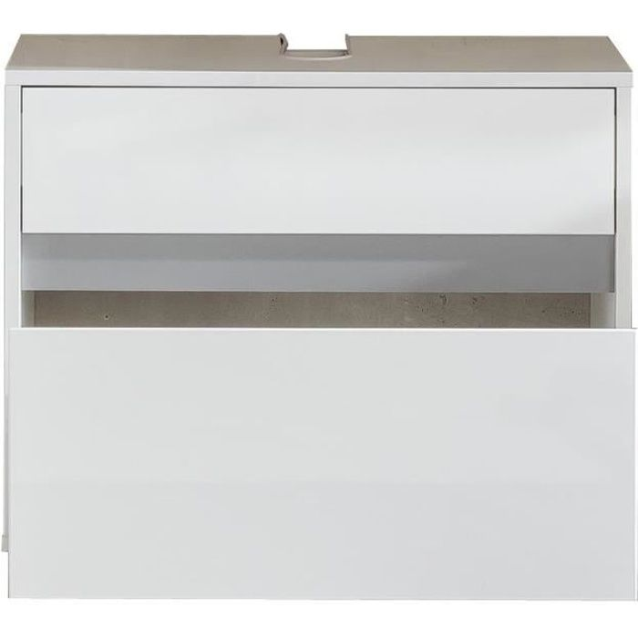 Panneaux particules mélaminés blanc mat et brillant, gris - L 67 x P 36 x H 52 cm - 1 tiroirMEUBLE SOUS VASQUE - MEUBLE VASQUE INTEGREE - PLAN DE TOILETTE