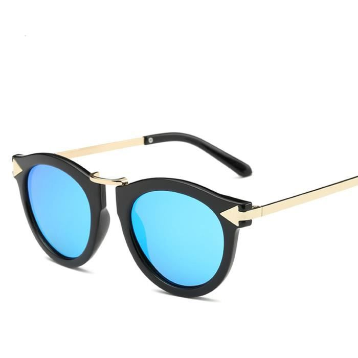 Lunettes de soleil soleil mixte homme et femme ronde polarisées Fashion Retro sunglasses marque de Luxe Bleu