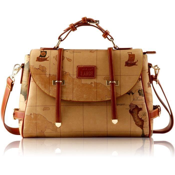 Rétro style vintage en cuir Pvc Carte de mode Sac à bandoulière épaule bourse Sac O9JYA