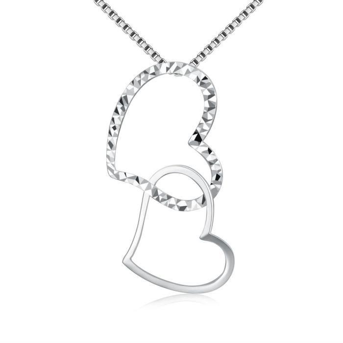 MaBelle Collier Pendentif Coeur or blanc 585/1000 (14 carats) (16/40cm) Pour Femme les filles