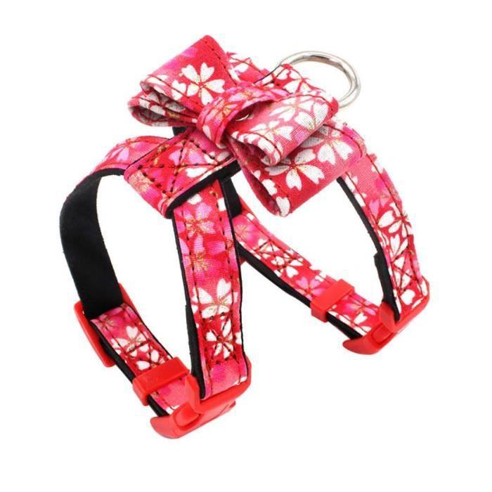 Animaux Chien Réglable Fleur Imprimer Bowknot Gilet Poitrine Sangle Harnais De Marche Rouge M