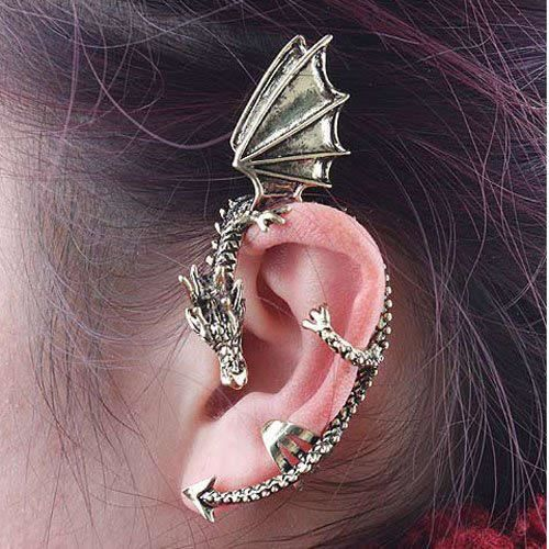Boucle d'oreille Boucle d'oreille dragon mythique dorée gothique bi