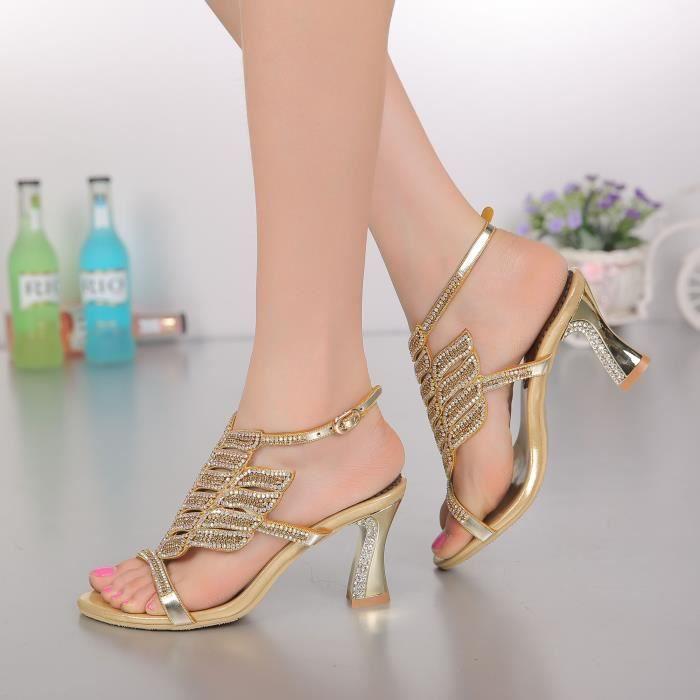 Sandales d'or Nouveau bohême strass cloutés sangle cheville épaisses chaussures de mariage mariée x5O9fjNySv