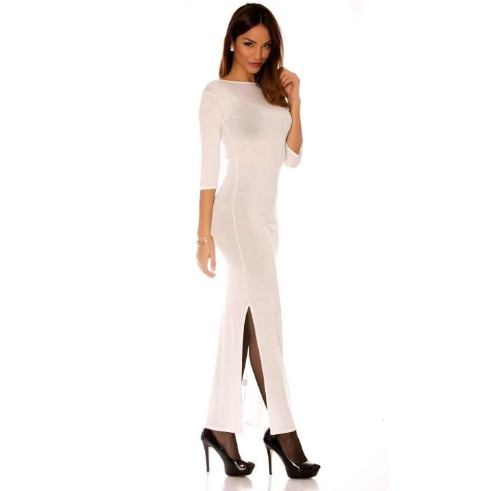 a283bfd6cda ROBE Miss Wear Line - Longue robe blanche manches 3 4