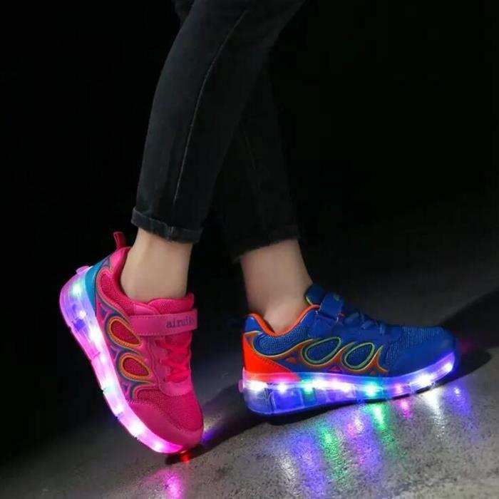 SHELOVEIT® Baskets Garçons Et Filles Enfants Multicolore LED Lumières roues